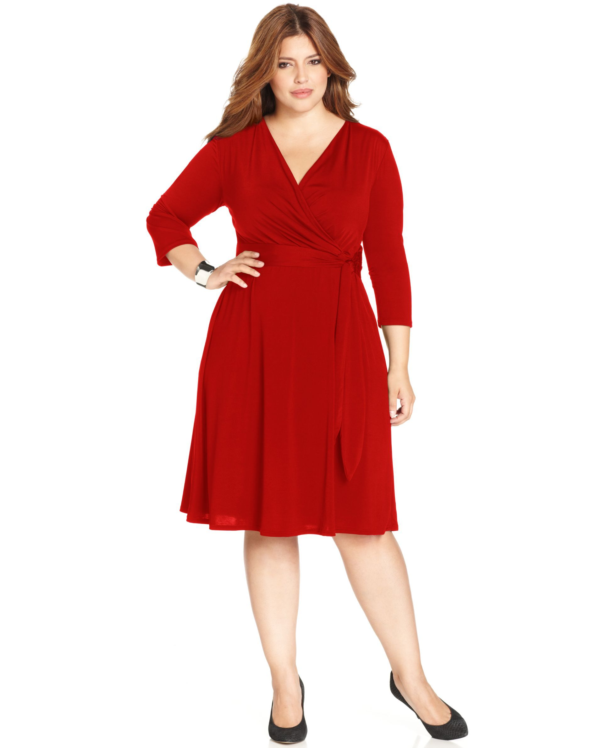 NY Collection Plus Size Faux-Wrap Dress | Shops, Colors and Wrap ...