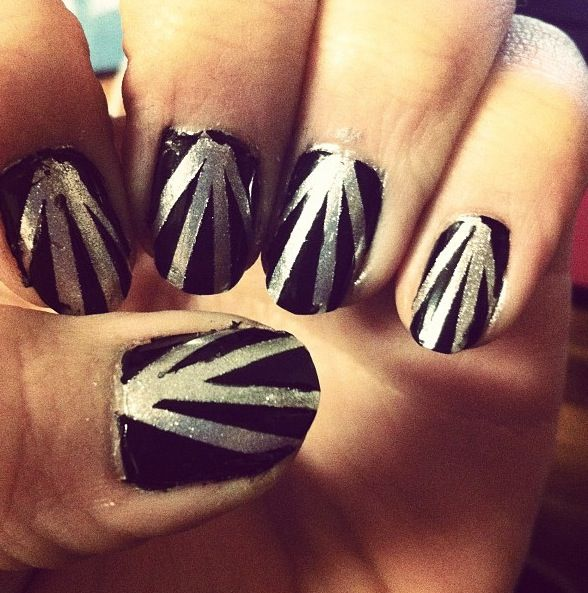Black And Silver Line Nail Design Nails Pinterest