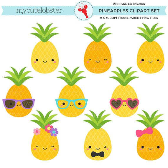 Cute Pineapples Clipart Set Pineapple Clip Art Fun Pineapples