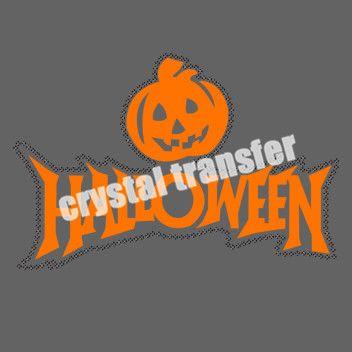 Halloween Pumpkin Rhinestone Iron on Transfers Vinyl Heat