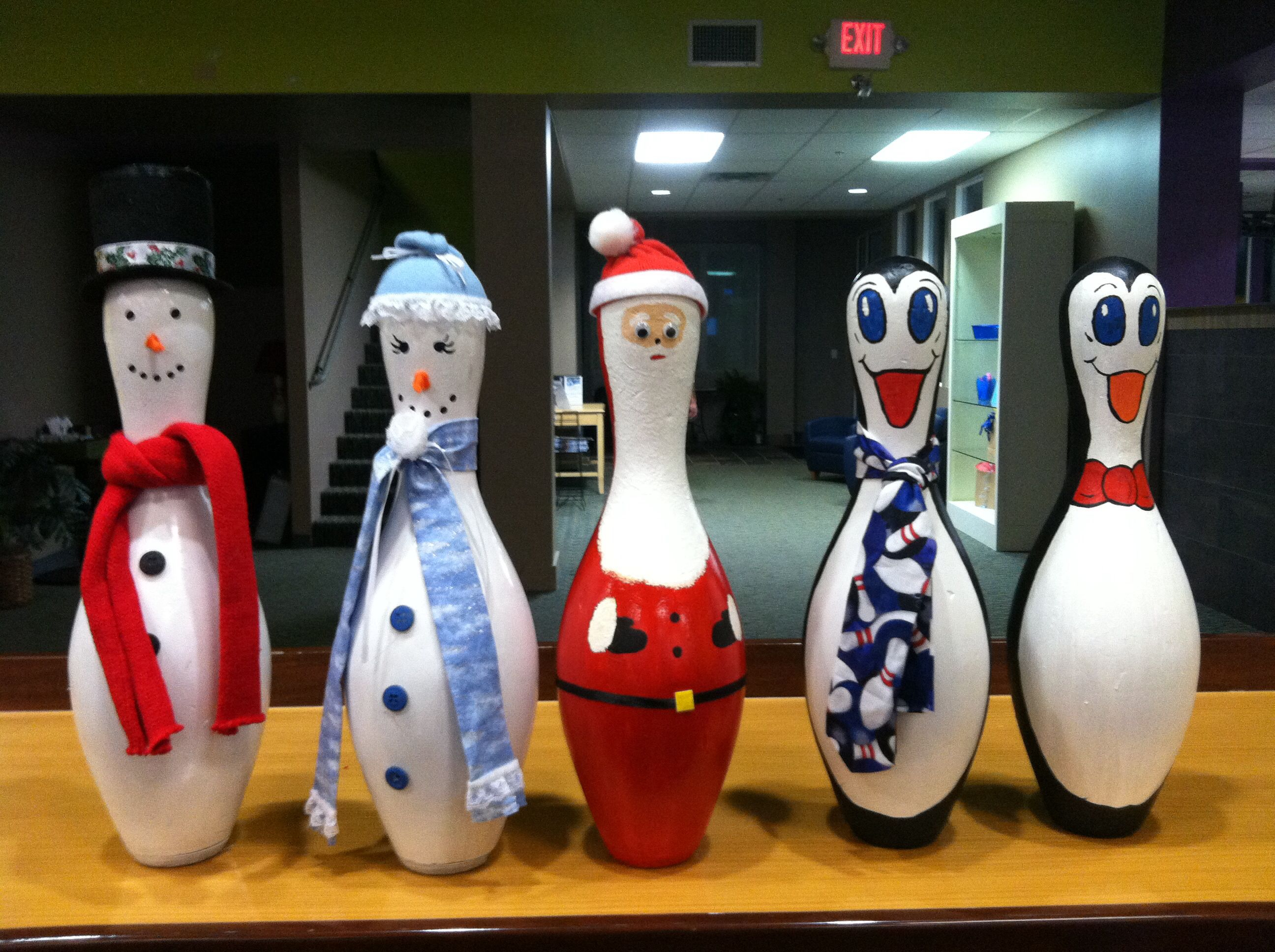 My Winter Friends Made From Bowling Pins Bowling Pin Crafts Snowman Crafts Bowling Pins