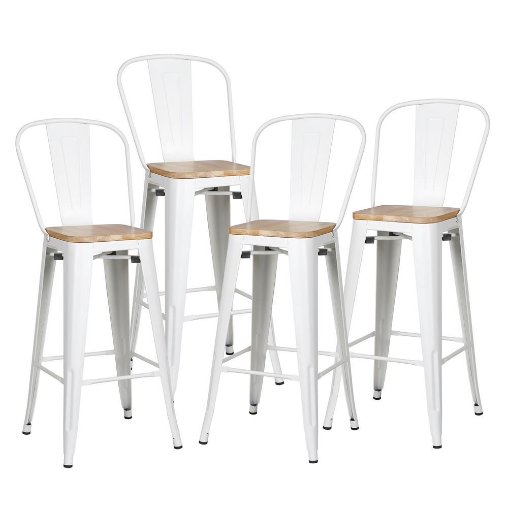 Edgemod Trattoria 30 In Alpine White High Back Bar Stool With Solid Oak Seat Set Of 4 Hd 382 30 Wk X4 The Home Depot High Back Bar Stools Wood Bar Stools Bar Stools