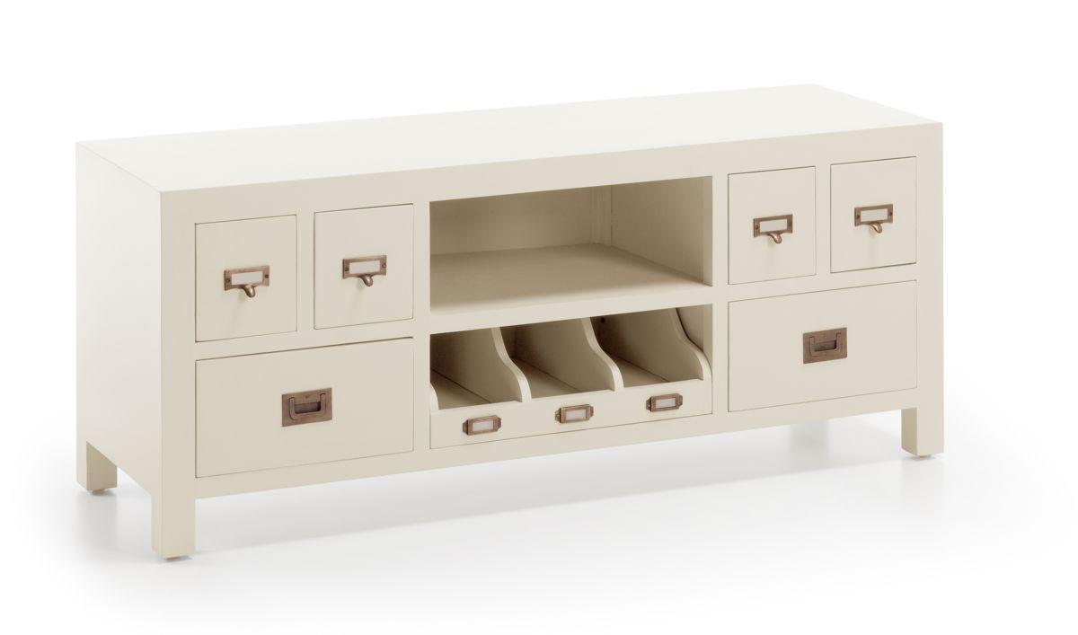 Mueble De Tv Colonial Blanco Jasmine 6 Cajones Demarques Es  # Muebles Moycor Baratos