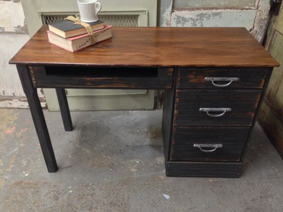 Ranch Oak Desk Small Vintage Desk Solid Wood Painted Furniture