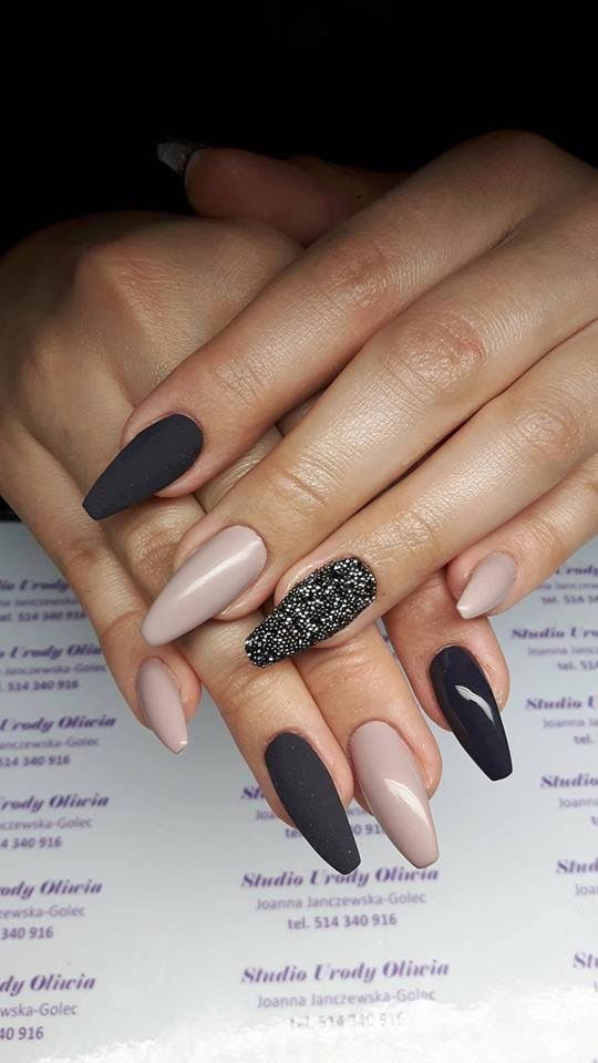 34 Black Matte Coffin Nails Designs for Summer 2018 | Diseño de uñas ...