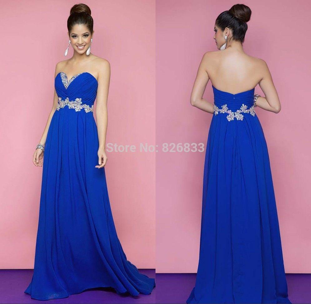 Robe bleu royal longue