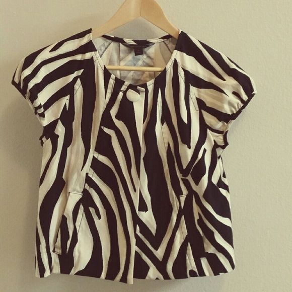 One Button Bolero Co Jacket Most adorable Zebra print cropped jacket looks stunning with slacks or your favorite jeans.  New!!! Express Jackets & Coats Capes