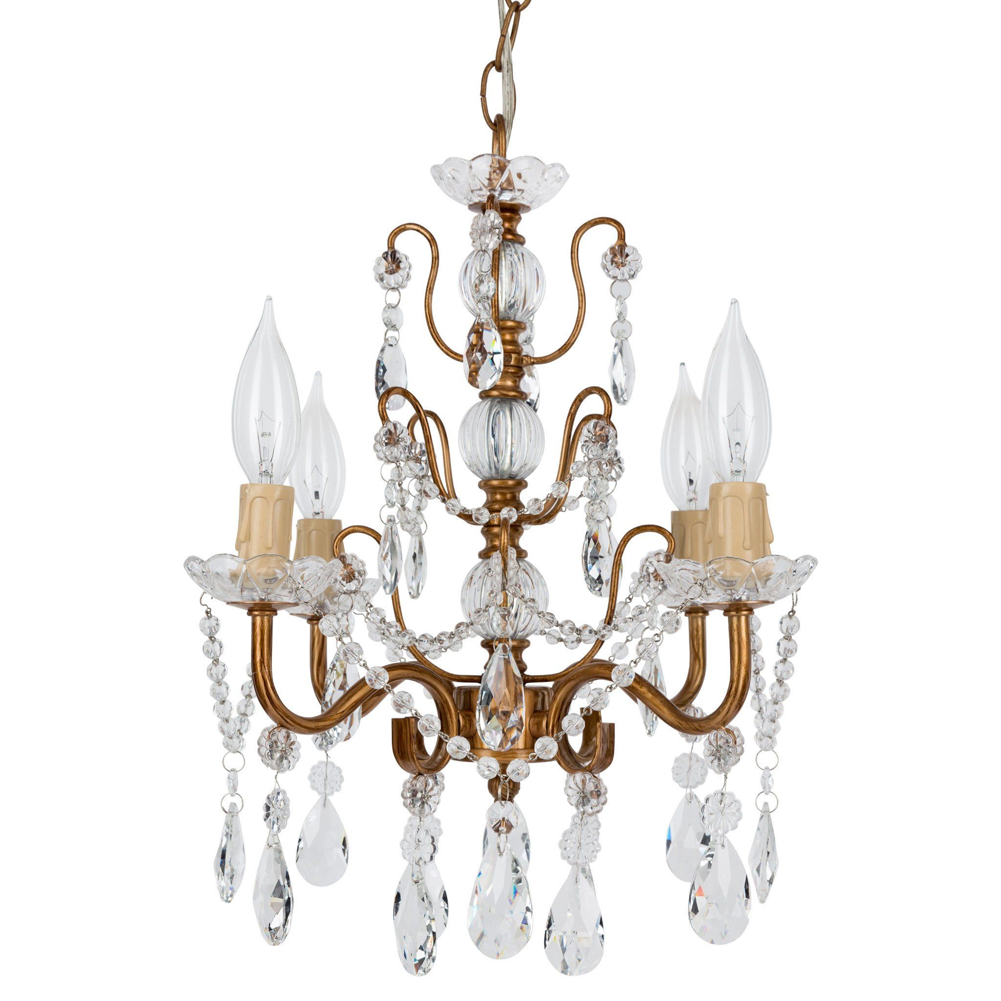4 Light Shabby Chic Crystal Plug In Chandelier Gold Plug In