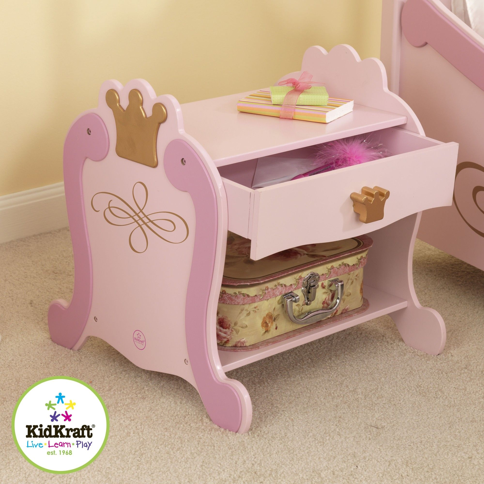 Kidkraft Princess 1 Drawer Nightstand With Images Toddler