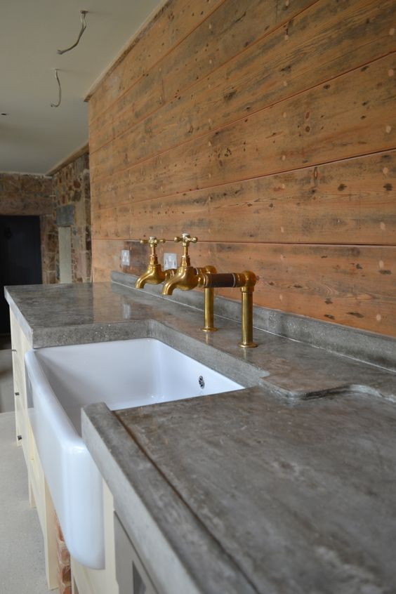 I Like The Way This Sink Is Integrated Into The Benchtop And The Rustic Taps The Concrete Polished Concrete Kitchen Concrete Kitchen Outdoor Kitchen Design