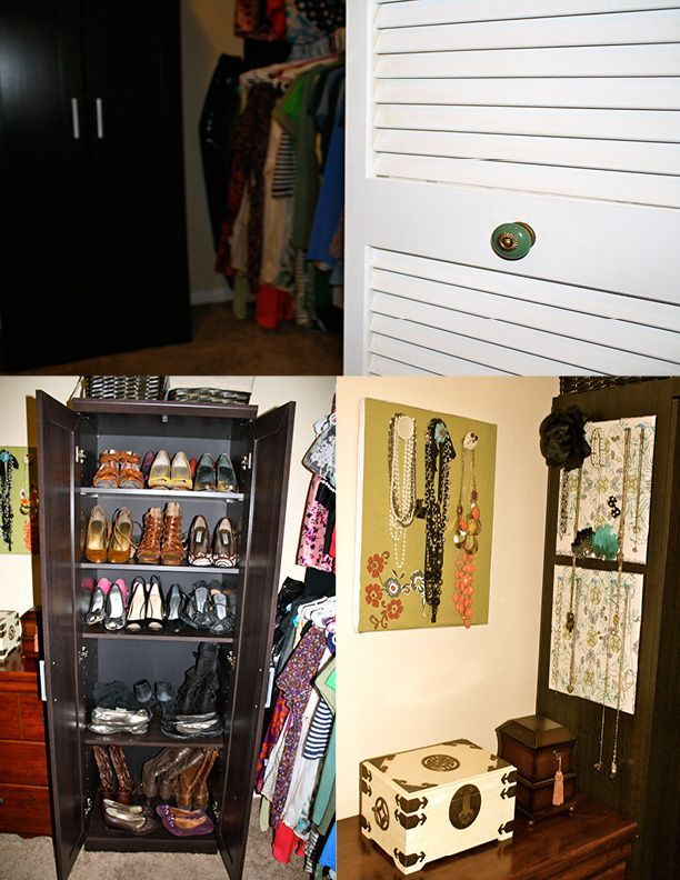 Remodeled closet complete with jewelry organizer shoe cabinet and