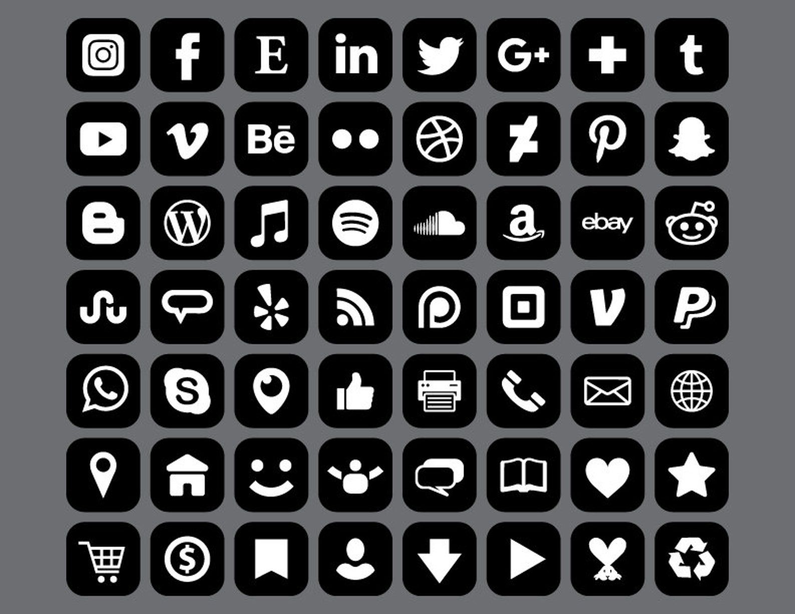 Square Social Media Icons Set Png Svg Vector Transparent Rounded Corner Black White Flat Buttons Website Digital Icons Commercial Use Social Media Icons Media Icon Icon Set