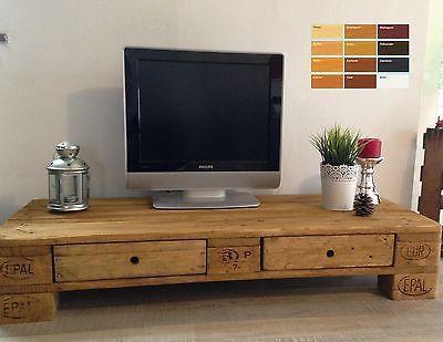 Palettenmöbel Europalette TV Lowboard TV Schrank mit 2 Schubladen - schlafzimmerschrank mit tv