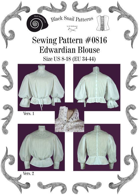 Edwardian Blouse Sewing Pattern #0816 Size US 8-30 (EU 34-56) PFD Download #blousesewingpattern Edwardian Blouse Sewing Pattern #0816 Size US 8-30 (EU 34-56) PFD Download