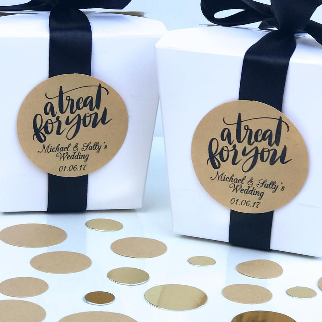 wedding stickers for invitations%0A A Treat For You Personalised Stickers Favours Wedding Hens Kitchen Tea  Kraft Brown Rustic