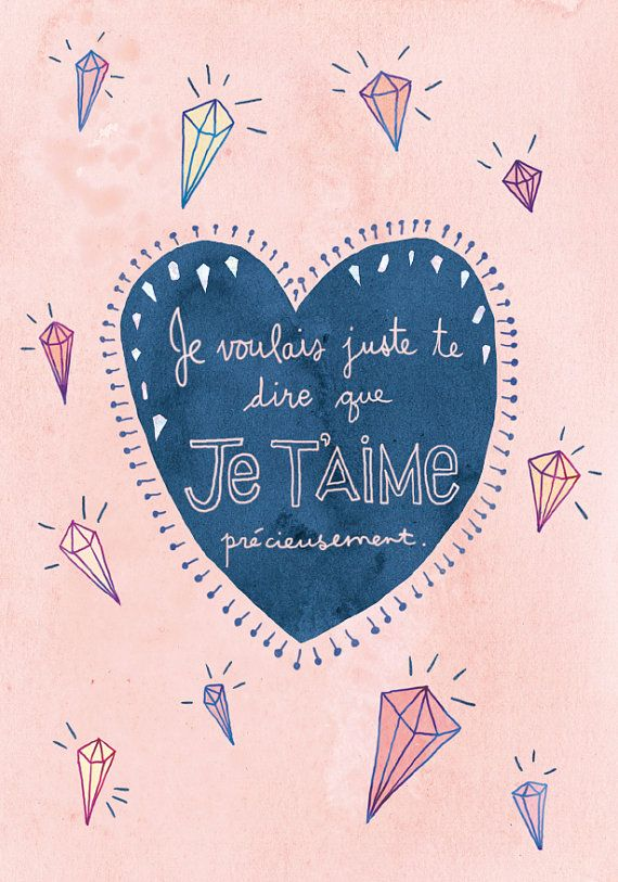 Valentines Day Card Love Card In French Je Taime Card