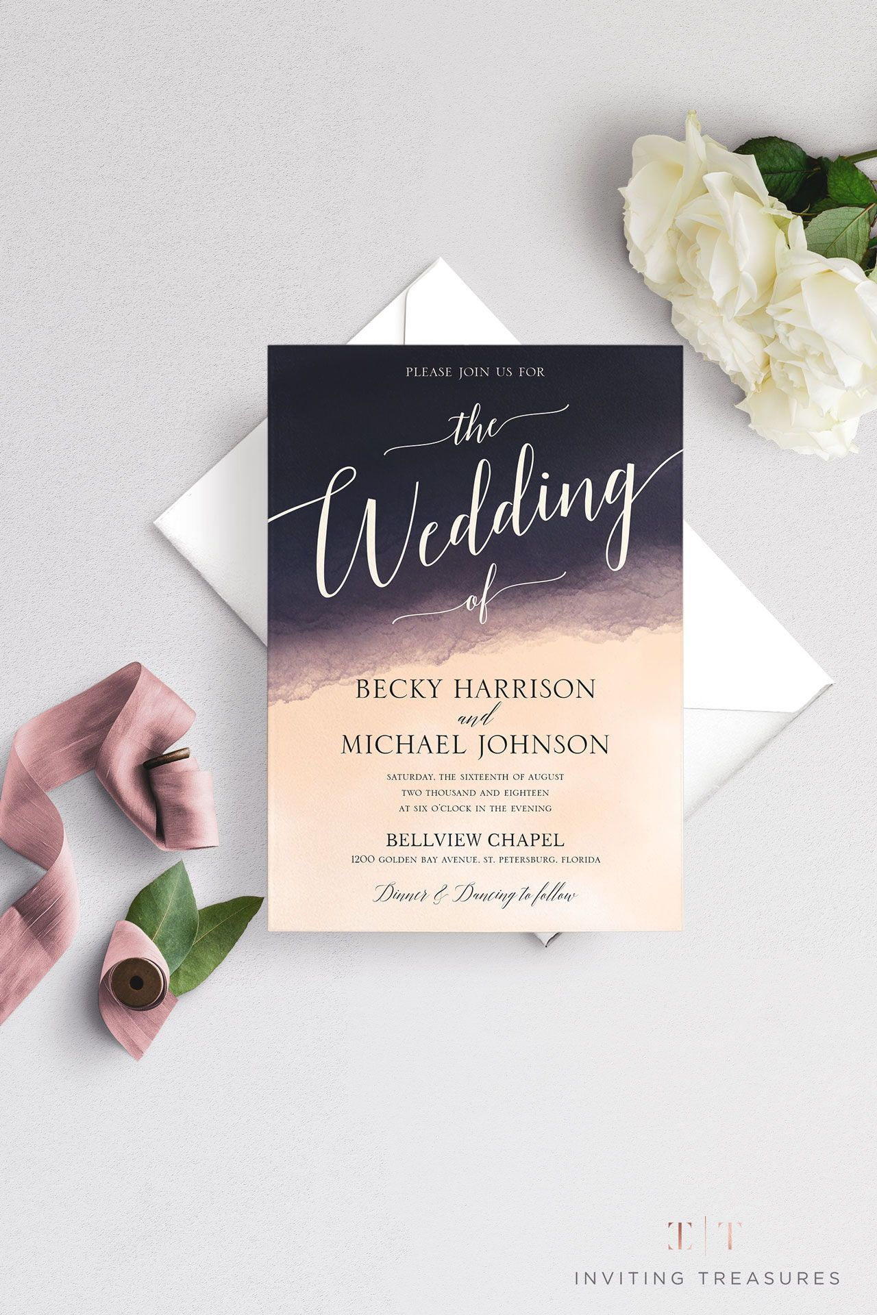 Formal Watercolor Invitation In 2020 Botanical Wedding