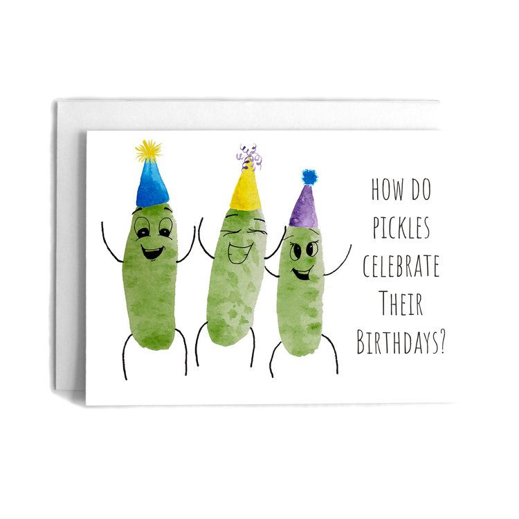 Pickle Relish Pun Birthday Greeting Card Hand Painted Watercolor Birthday Joke Card Cafe Notes Company Birthday Greeting Cards Birthday Jokes Birthday Cards