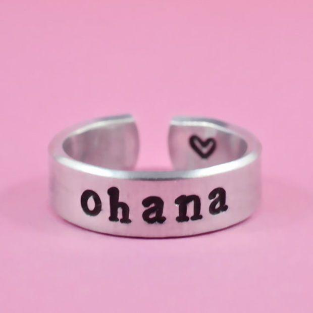 ohana - Hand Stamped Ring, Pure Aluminum, Shiny, Skinny Ring, Family ...