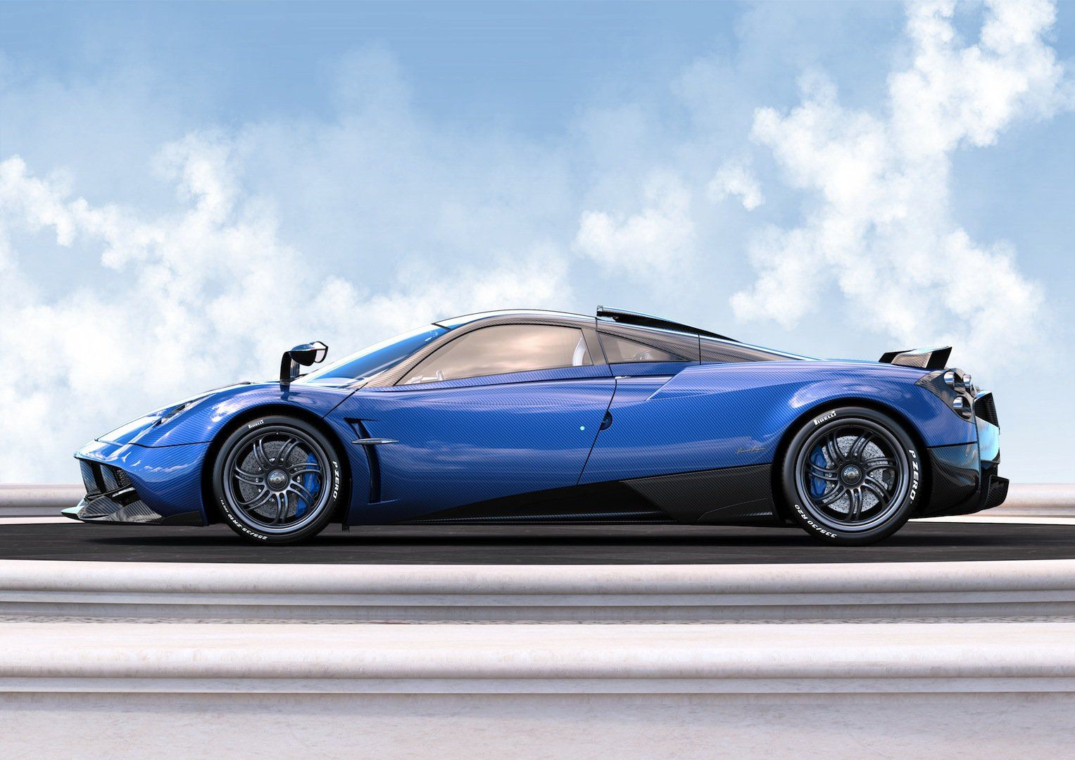 Carbon Blue Pagani Huayra Pearl One Off Edition Side View Image