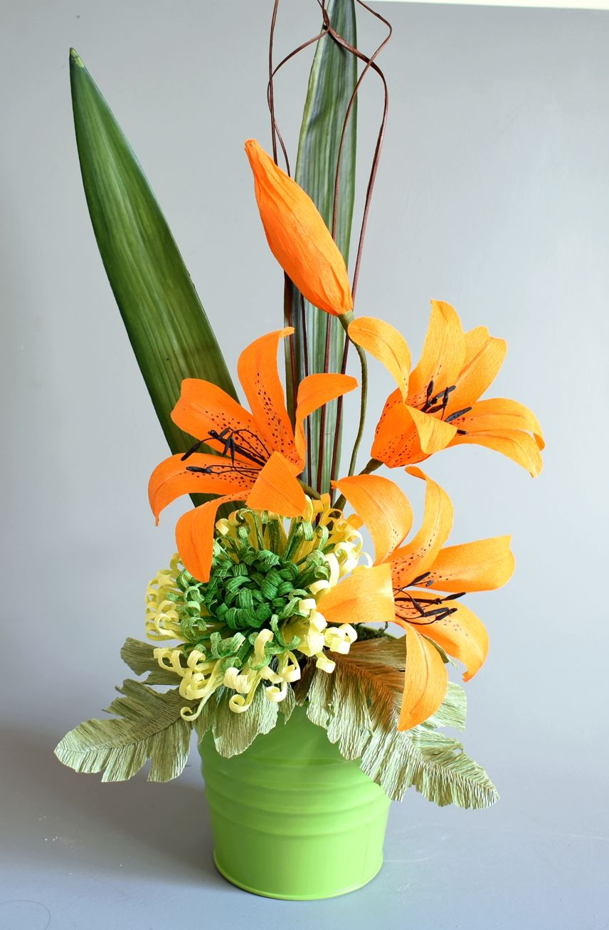Lily and chrysanthemum arrangement crepe paper flower this arrangement was made for a patient in hospital no fuss no mess and izmirmasajfo