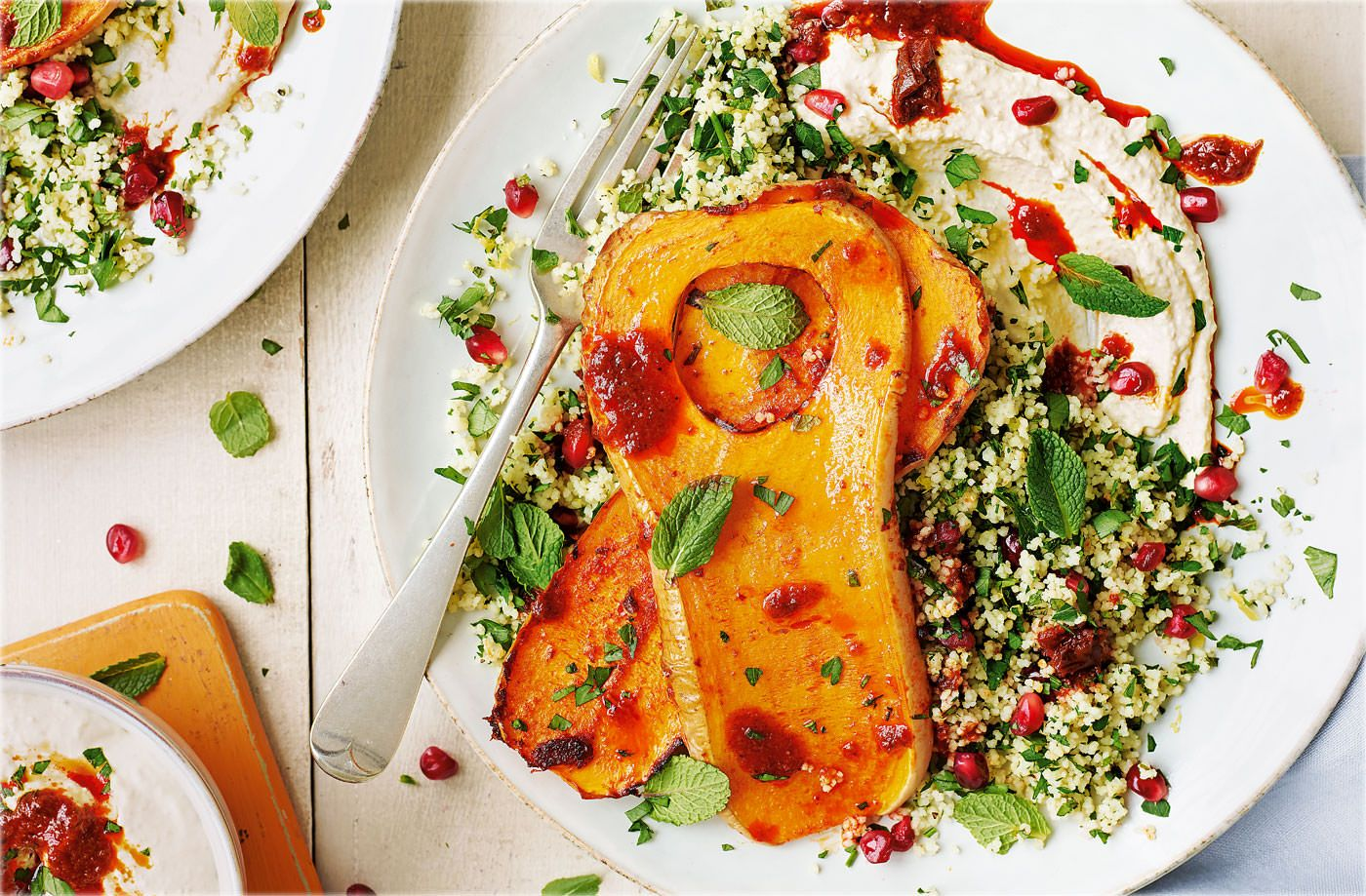 Butternut squash steaks with houmous and jewelled couscous recipe butternut squash steaks with houmous and jewelled couscous recipe butternut squash couscous and real foods forumfinder Images
