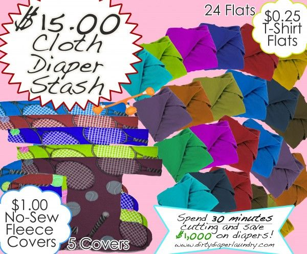 Cloth Diaper Stash For Only 15 Using T Shirts And