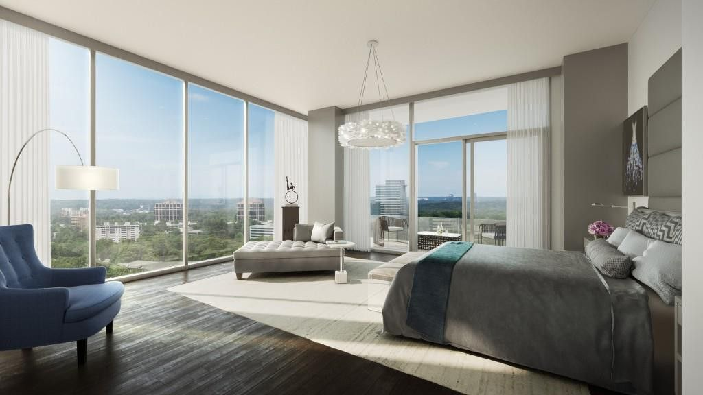 High Rise Living Master Bedroom With A View Buckhead Luxurious Bedrooms Luxury Condo Bedroom Luxury Bedroom Suite Bedroom suites in atlanta ga