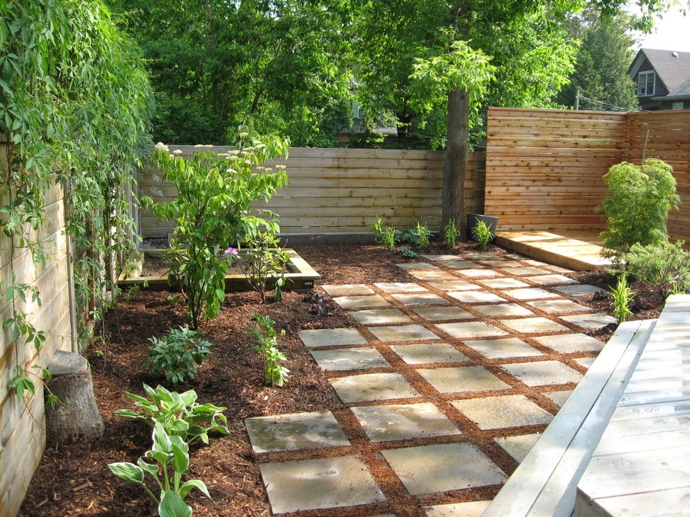 Inspired doggy steps in landscape modern with knotty pine for Garden design ideas toronto