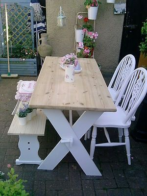 Shabby chic Farmhouse solid Pine Table 2 Vintage wheelback chairs ...