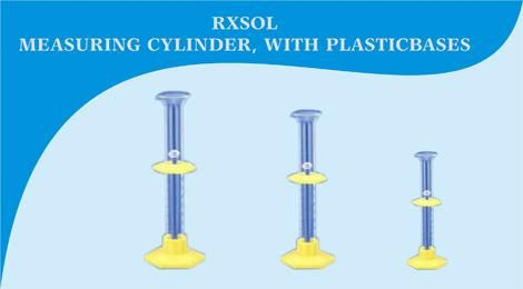MEASURING CYLINDER WITH PLASTIC BASES               A measuring cylinder is a cylindrical, graduated, tube with a closed base. Measuring cylinder is used for measuring volume of solutions, liquids and also water click link;http://dubichem.com/measuring-cylinder-plastic-bases