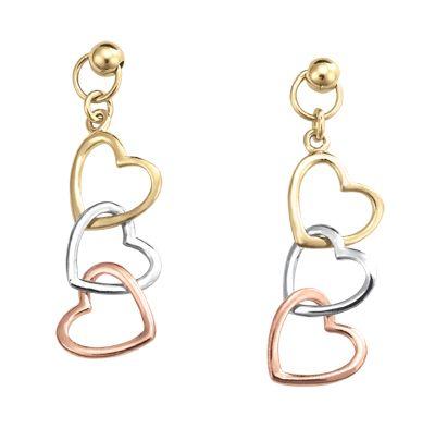 nueva colección fda97 8d113 Aretes de corazones entrelazados oro florentino 14K ...