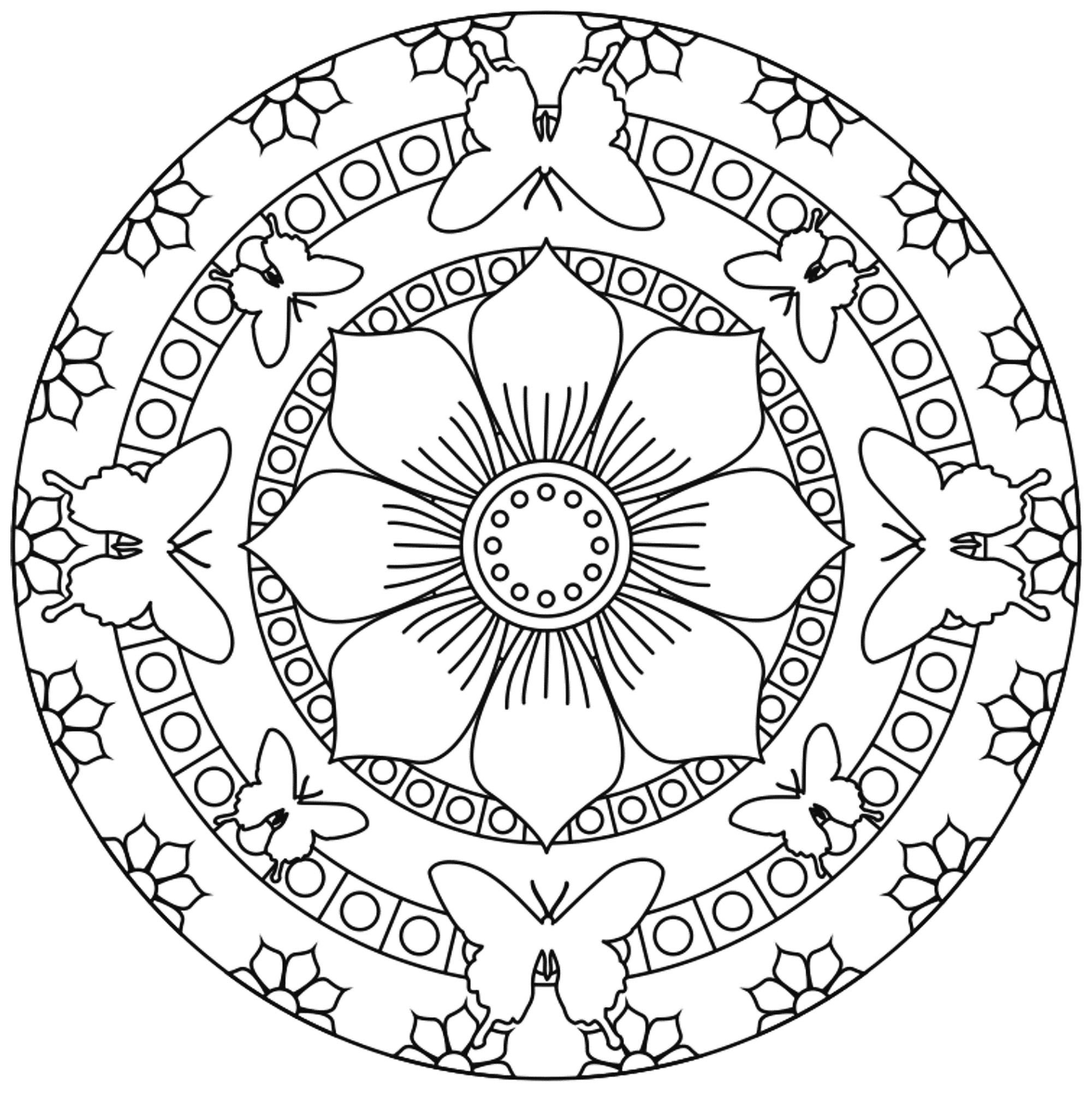 Mandala Butterflies And Flowers Mandalas Coloring Pages For