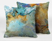 A pair of decorative pillows with abstract art, 16x16, 18x18, 20x20, accent pillows, throw pillows, finished complete pillows, Crossing AB