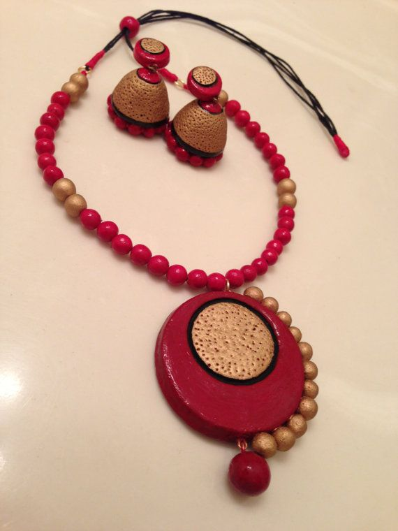 Color - antique gold,red,black, Necklace length - 43 cm Earring ...