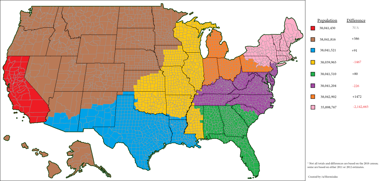 US Regions With The Same Population As California Data - Map of the us with regions
