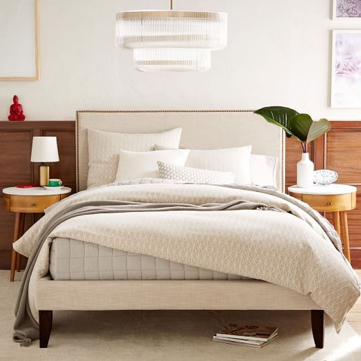 Low Upholstered Nailhead Bed - Natural | west elm.. like the ...
