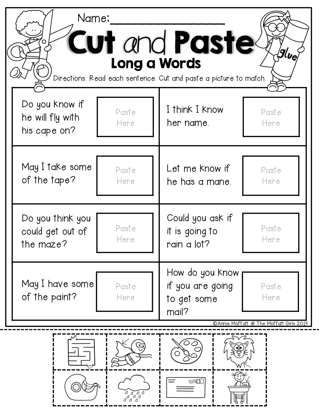 Worksheets Cut And Paste Sentence Worksheets i can read simple sentences no prep set 3 cut and paste with long vowels sentences
