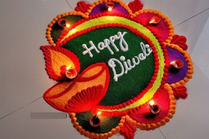 happy diwali easy & simple rangoli design with diyas