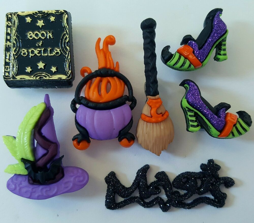 HAUNTED WOODS Halloween Skeleton Ghost Bat Cat Tree Dress It Up Craft Buttons
