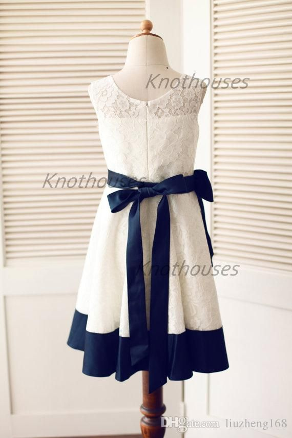 Ivory lace/Navy Blue Satin Stripe Flower Girl dress/Junior ...