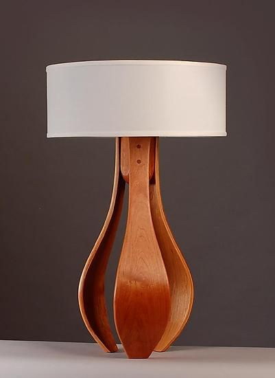 Simple Elegance Chloe In Cherry With White Shade Kyle Dallman Wood Table Lamp Artful Home