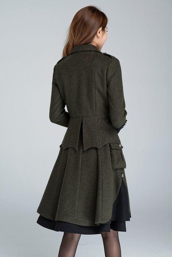 hot sale online b538a 5eb9a Womens blazer, wool jacket, army green jacket, button coat ...