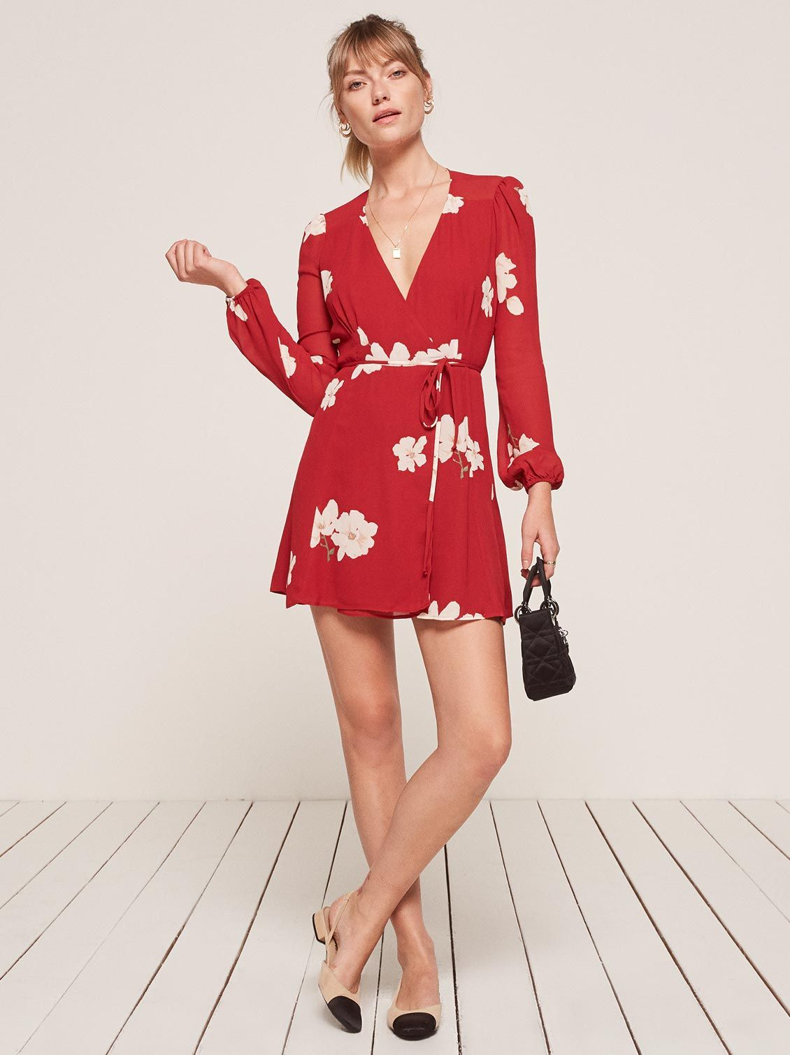 64cab945f4 Collins red floral long sleeve wrap dress Reformation | My style ...
