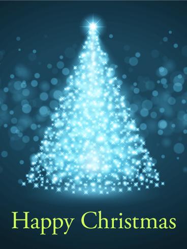 Glowing Christmas Tree Card   Birthday & Greeting Cards by Davia