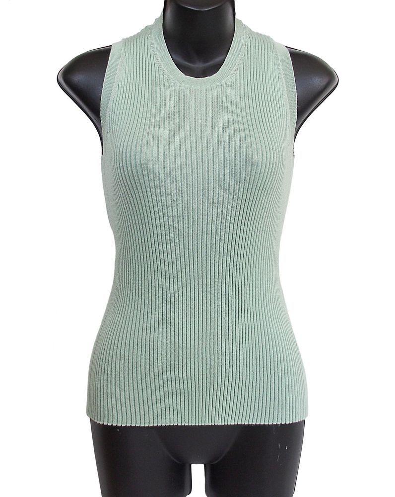 f50ee661938704 LORO PIANA Top Knit Cashmere Silk Green Size L  LoroPiana  TankTop ...
