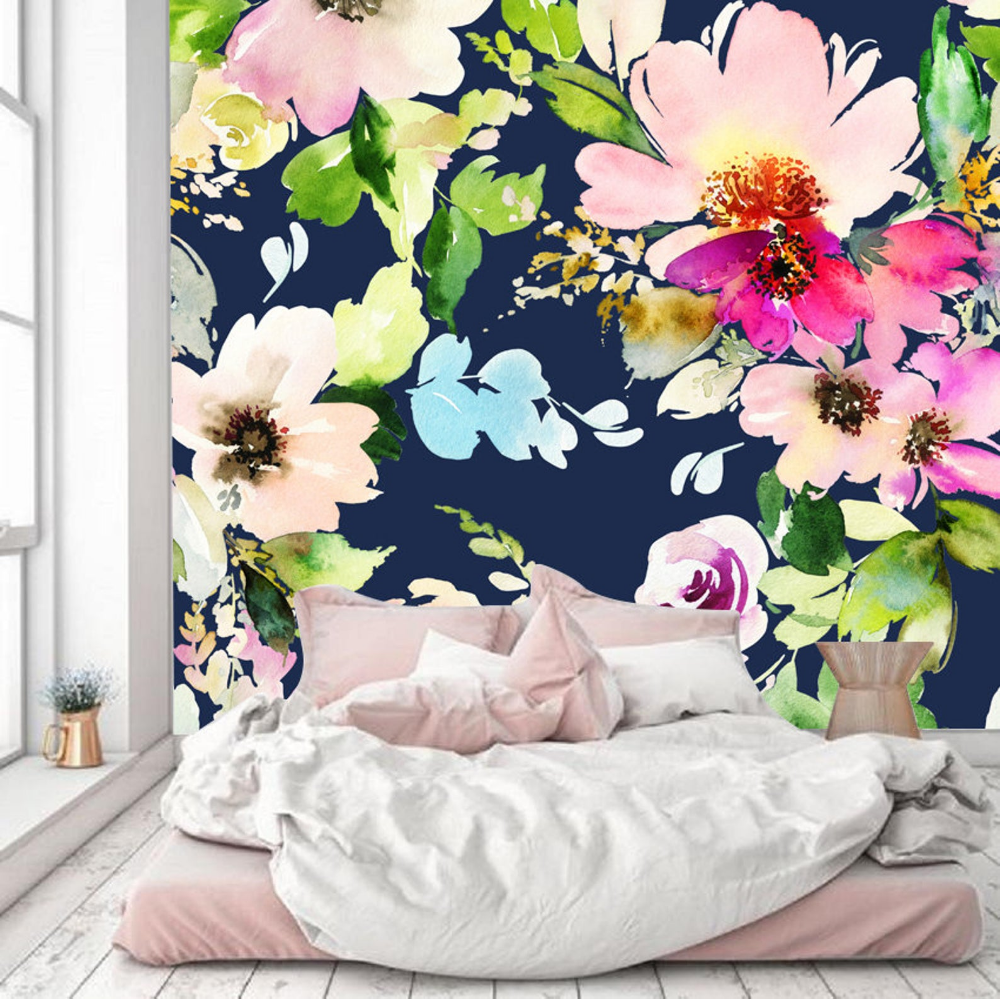 Watercolor Flowers Wallpaper,removable Blossoms Floral