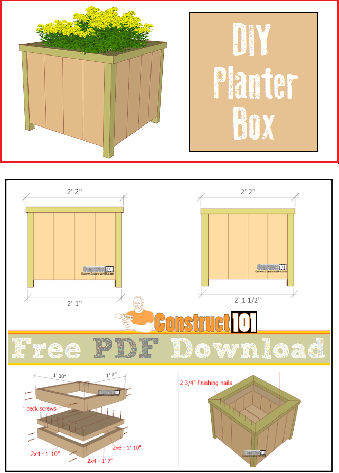 Planter Box Plans - PDF Download in 2019 | pallets / wood projects
