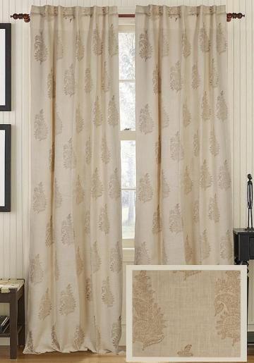 Rashni Jute Curtain Panel Draperies Tiebacks Window