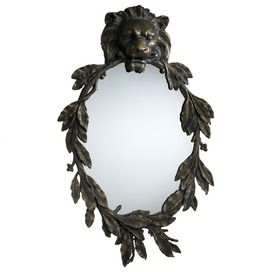 lion mirror-standing in for the golden anthropomorphic lion mirror that I have (which is not as serious looking as this one)